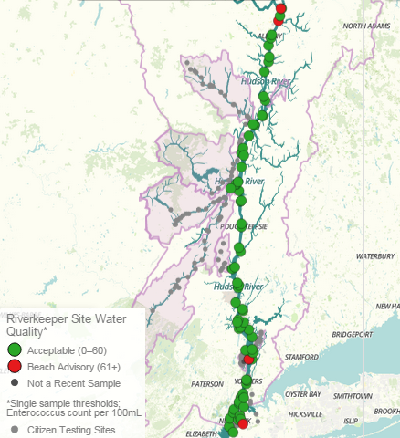 Hudson River water quality data map for May 2015